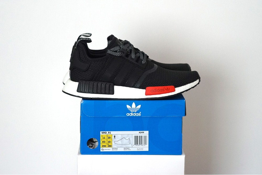 106.79 UA NMD R1 Runner PK Triple Black REVIEW UNBOXING