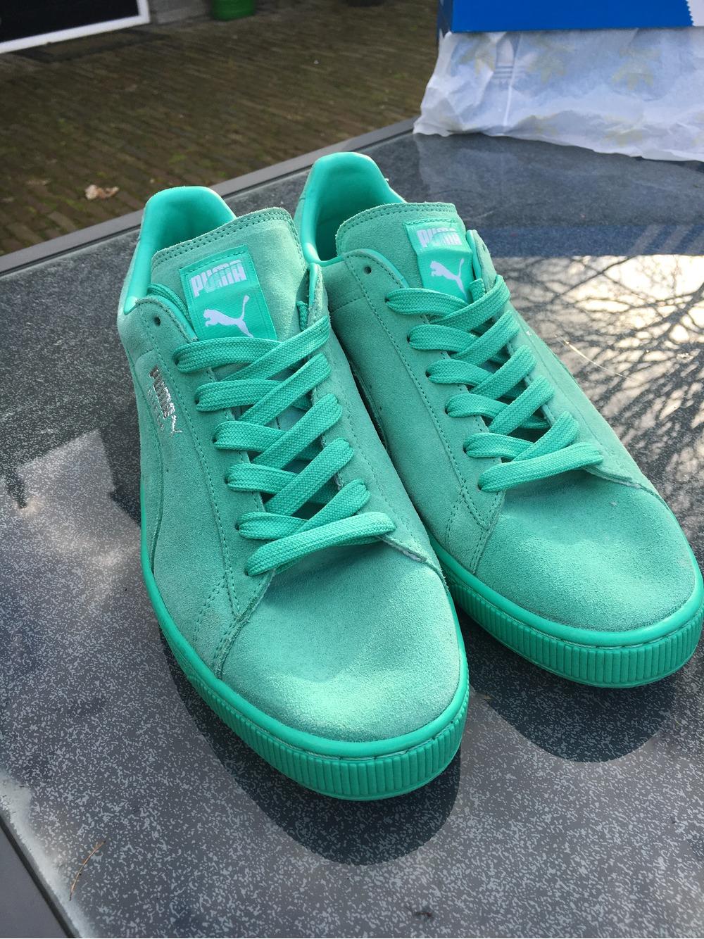 puma suede classic mint green