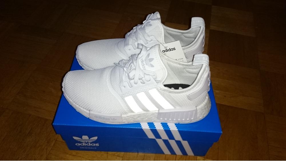 inikhi Adidas NMD R1 Triple White Mesh, Monochrome Pack // 2 x US 8,5