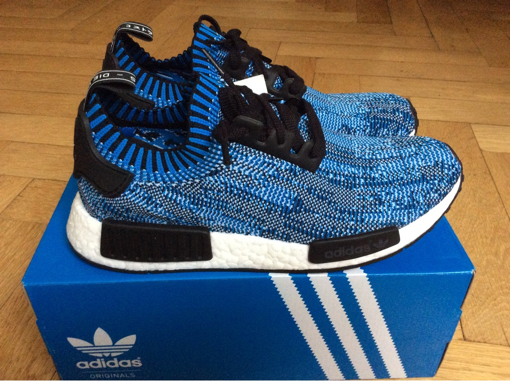 Adidas NMD R1 PK Primeknit Tri Color Black Blue Red BB 2887