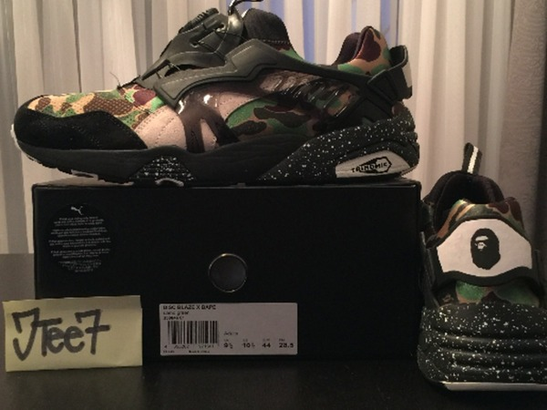 "For Retail: BAPE x Puma Disc Blaze "" Camo Green "" US 10.5 New In Box - photo 1/5"