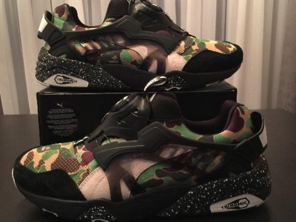 "For Retail: BAPE x Puma Disc Blaze "" Camo Green "" US 10.5 New In Box - photo 3/5"