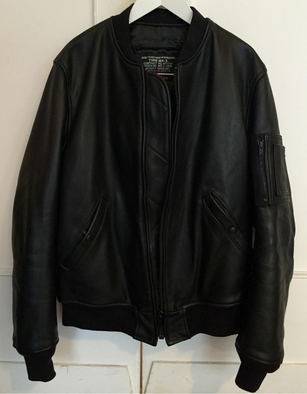 supreme x schott nyc leather ma 1 bomber jacket 484388 from d10s at klekt. Black Bedroom Furniture Sets. Home Design Ideas