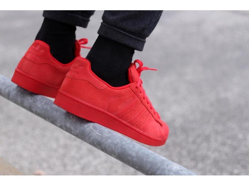 all red adidas superstar