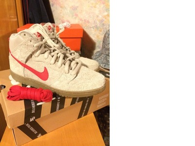 Image of Nike SB Dunk High Birch/Hyper Red