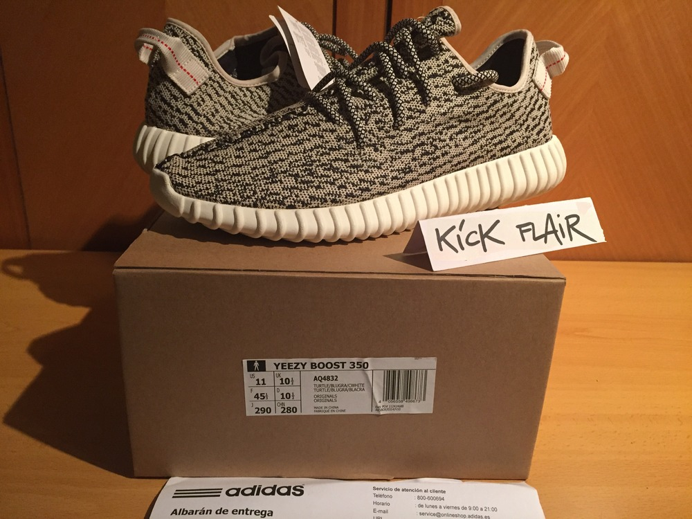 100% Authetic Adidas Yeezy Boost 350 Turtle Dove AQ 4832 Gray SZ