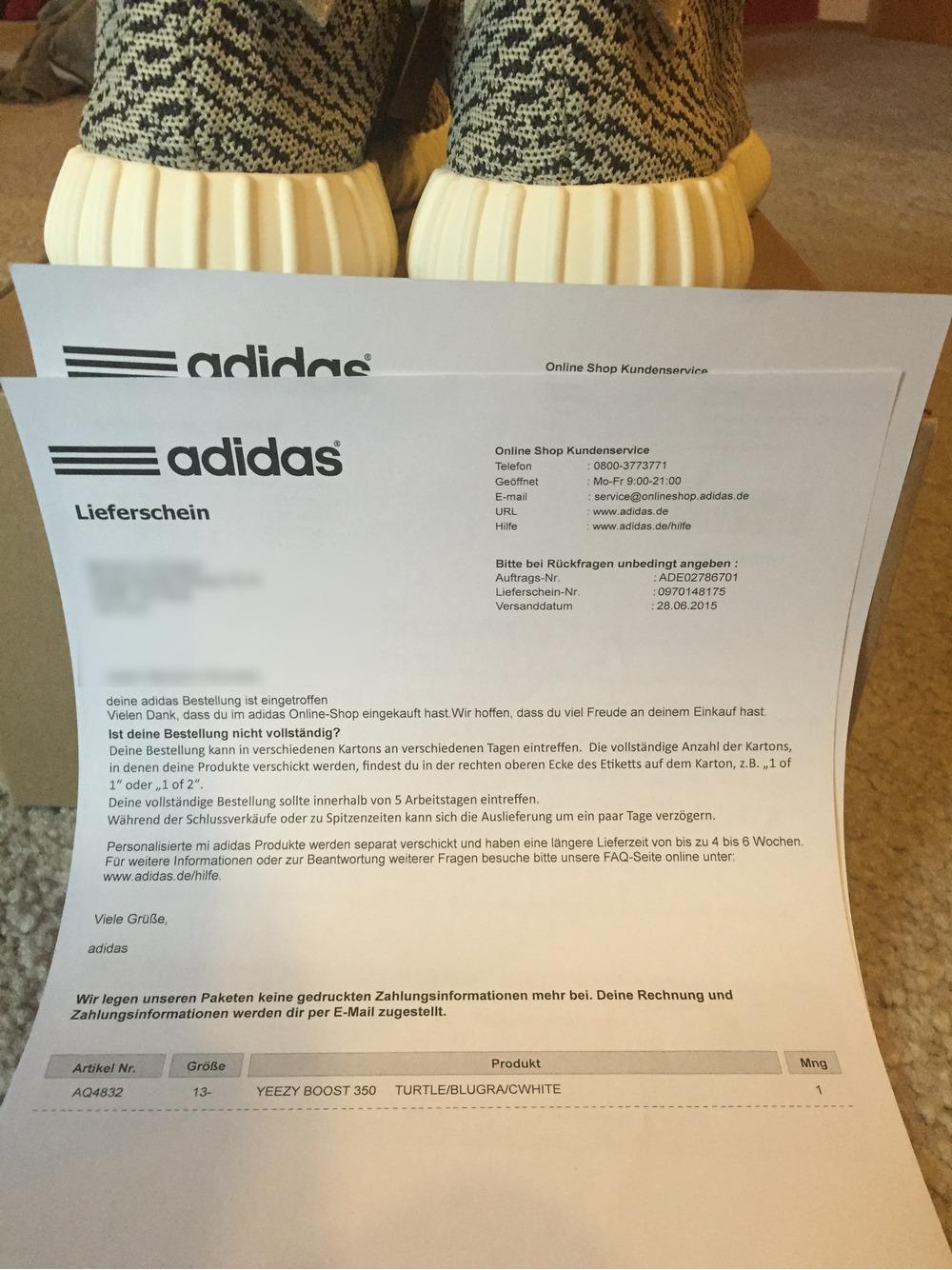 yeezy adidas receipt