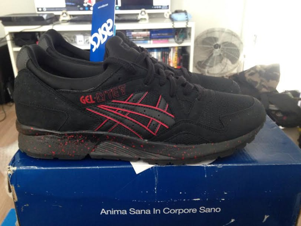asic gel lyte v black and red