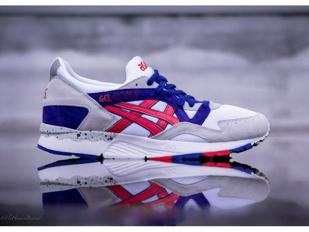asics gel lyte v white blue red