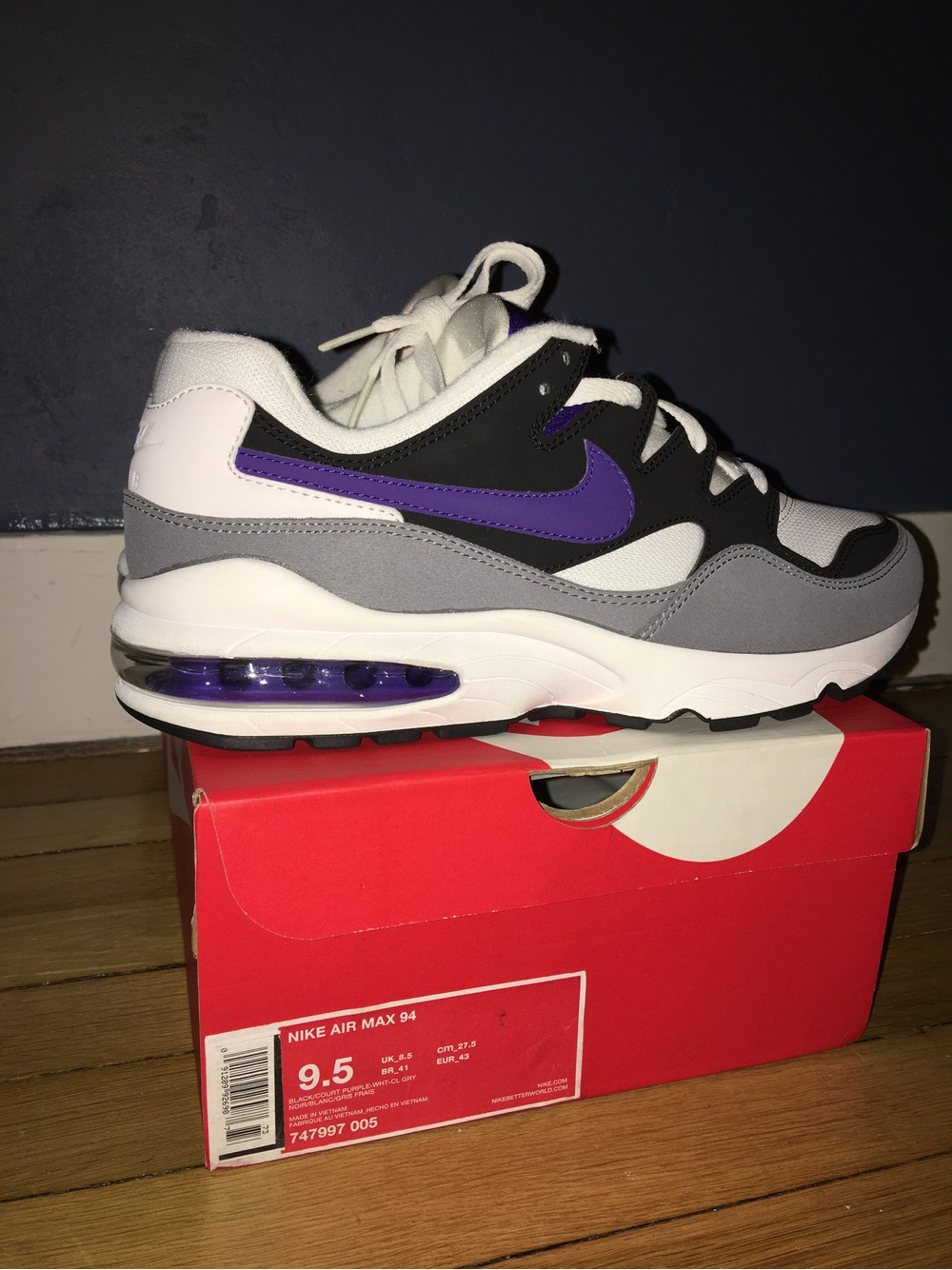 a2a9042a6e ... ireland nike air max 94 og white black purple size 95us 8 e2d62 a8e85