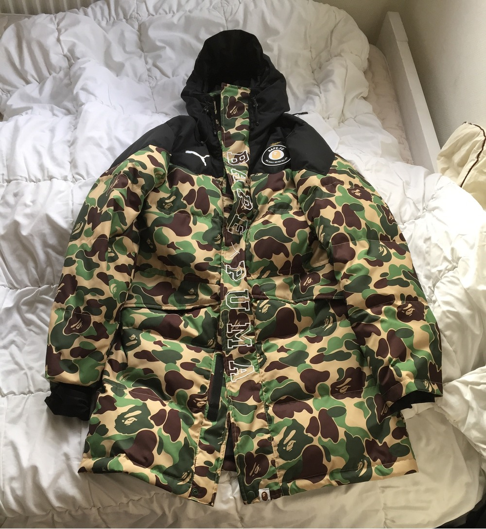 Bape Puma Coat Bapa on outdoor tables and chairs