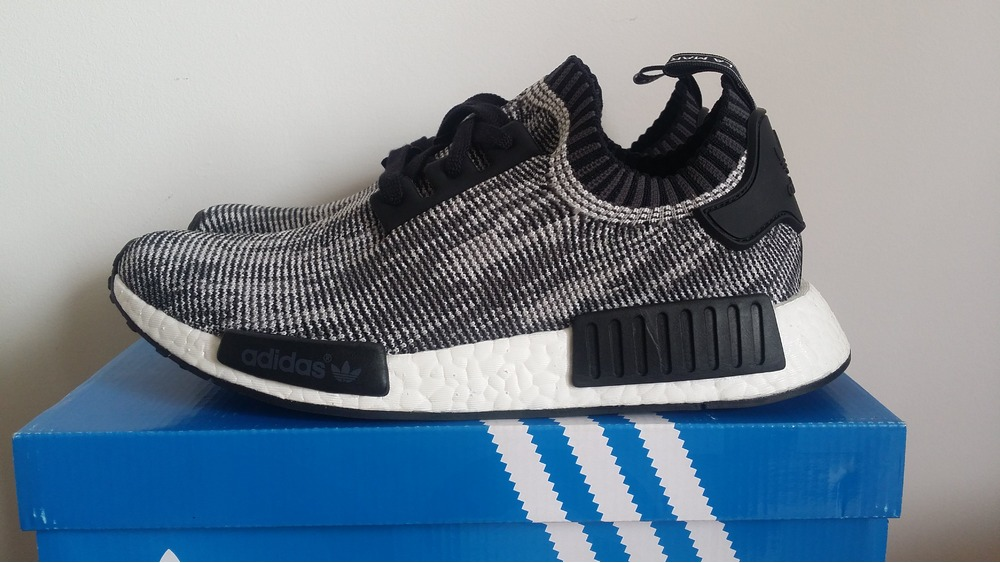 By1911 adidas NMD R1 Primeknit Shoes Oreo Glitch Camo Black