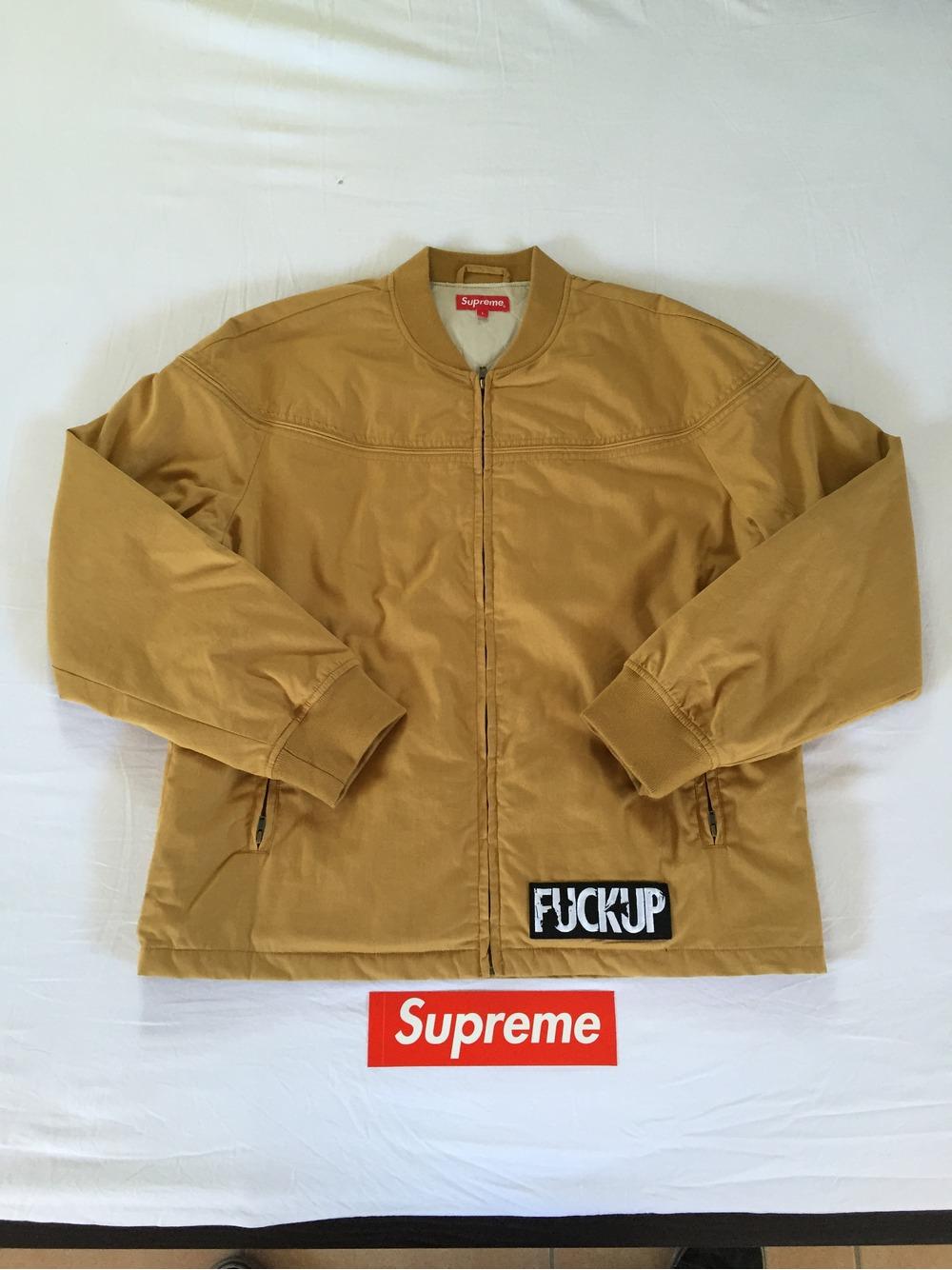supreme derby jacket mustard size l large bnwot ds