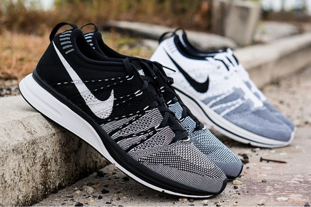 932c71693a4e6 ... nike flyknit trainer white and black ...