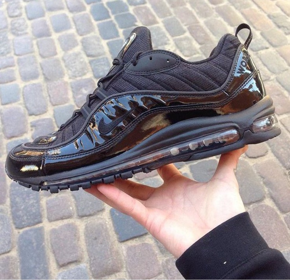 Supreme Nike Air Max 98 Black Running Shoes Spring Summer 2016 Size 11