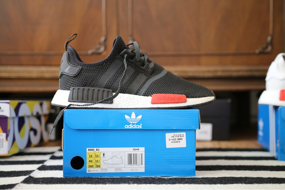 Adidas NMD R1 PK Winter Wool Size 12 Preowned Black White BB0679