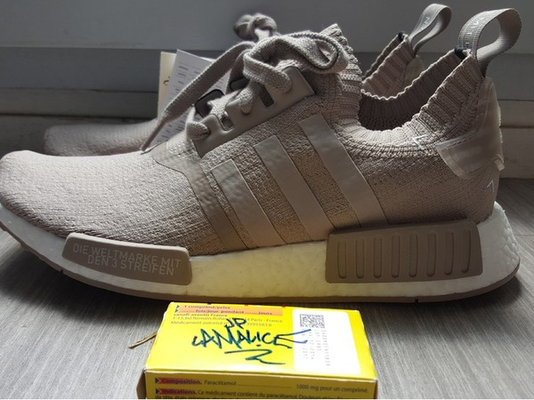 Adidas nmd Nmd_r1 Primeknit (PK)-Vapour grey-French Beige-TAN-US8-DS - photo 1/3