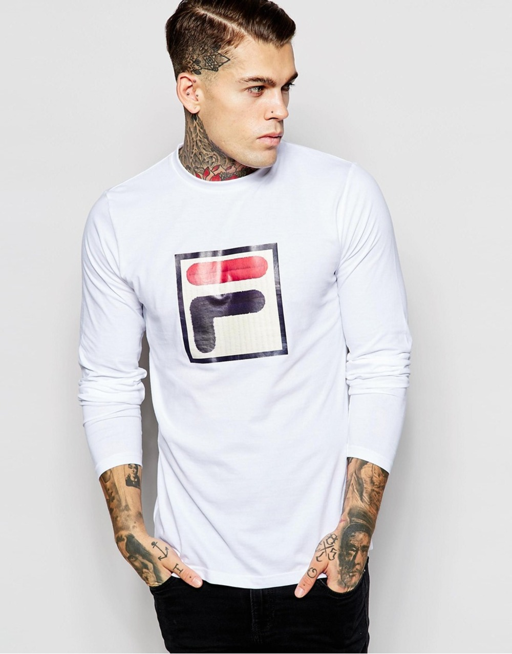 shirts fila white line long sleeve t shirt tshirt big logo. Black Bedroom Furniture Sets. Home Design Ideas