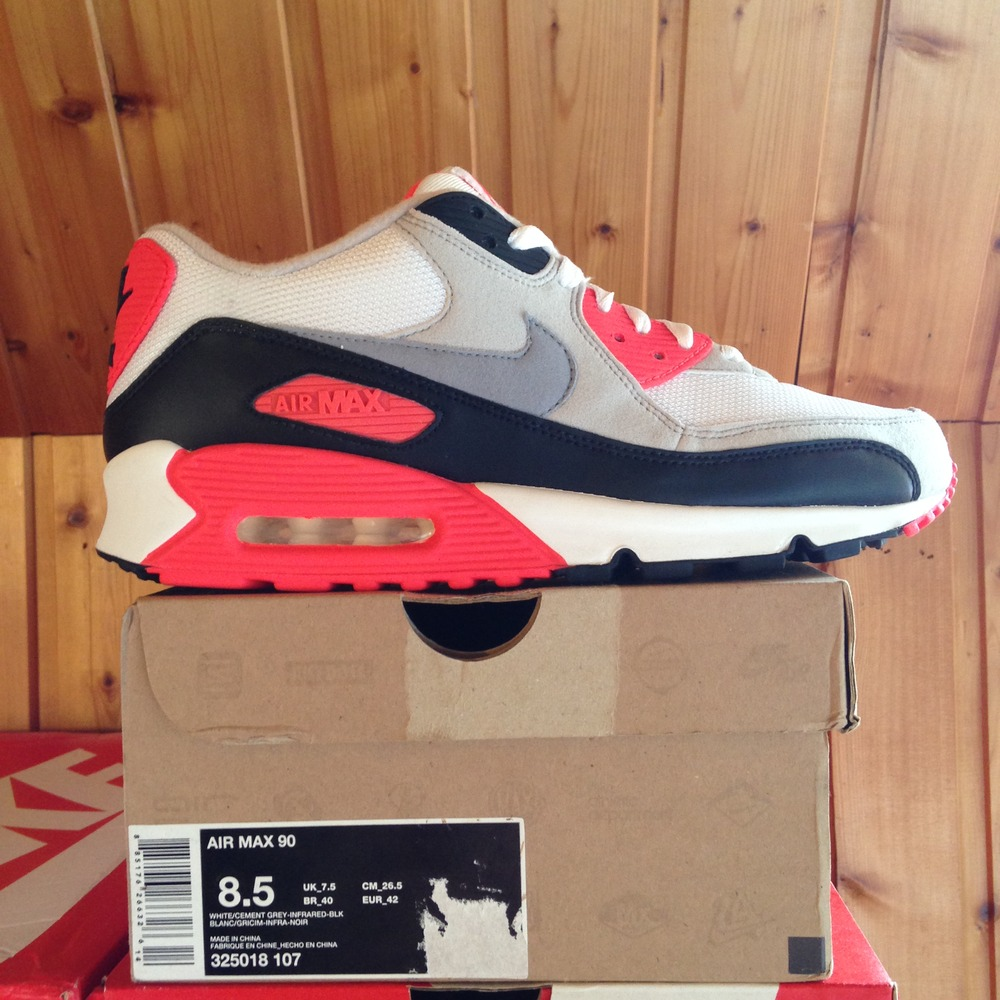 424840319 Nike Air Max 90 Infrared 2010 Cement Deadstock OG 325018-107 new w/ box
