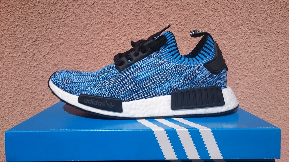 ADIDAS NMD OG R1 PK BLACK BLUE RED WHITE SZ 8 PRIMEKNIT