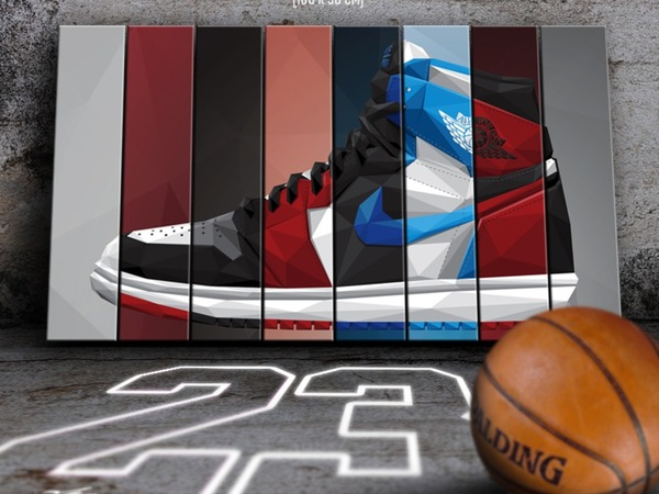 NIKE AIR JORDAN 1 Canvas (Bred / Chicago / Royal / Shadow / Black Toe), wall decor - photo 1/2