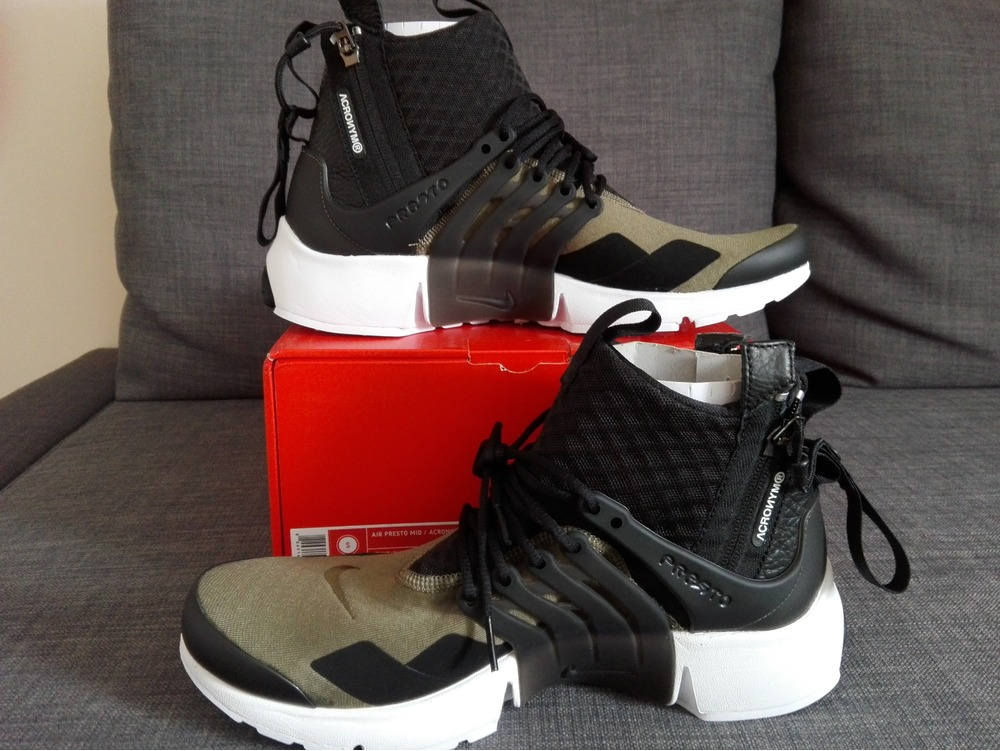 ... 6 Black \ Anthracite Acronym x Nike Air Presto Mid med oliv - Size S US  9-10 ...