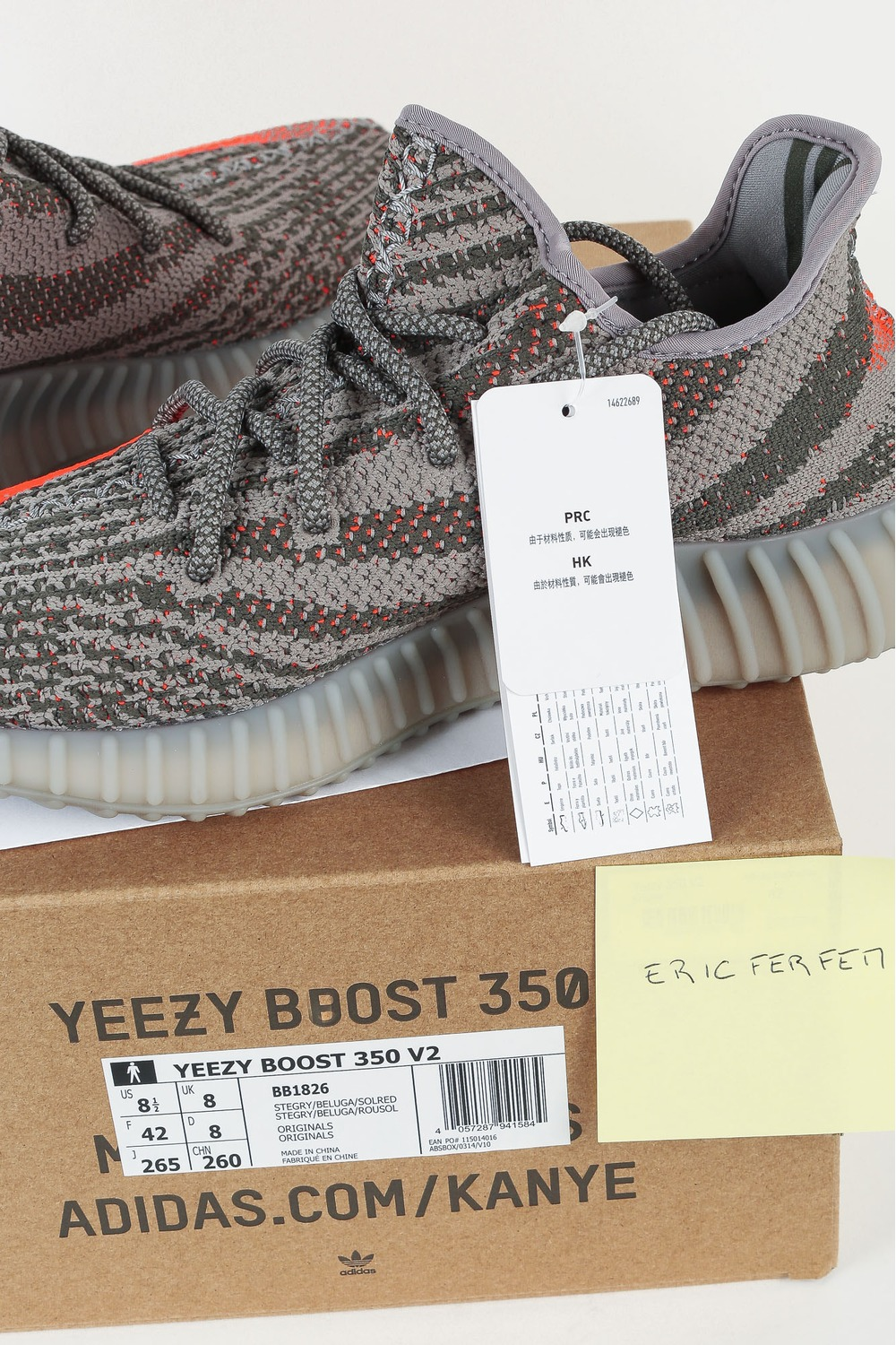 Adidas Yeezy Boost 350 V2 Steel Grey/Beluga/Solar Red