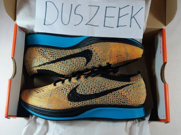NIKE FLYKNIT RACER SHERBET BLUE 5.5US - 7.5US DS YELLOW TURQUOISE SUN SEA BRIGHT CITRUS - photo 1/1