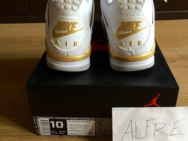 Nike Air Jordan 4 IV White-Cement 2016 White-Gold Custom OVO - photo 2/8