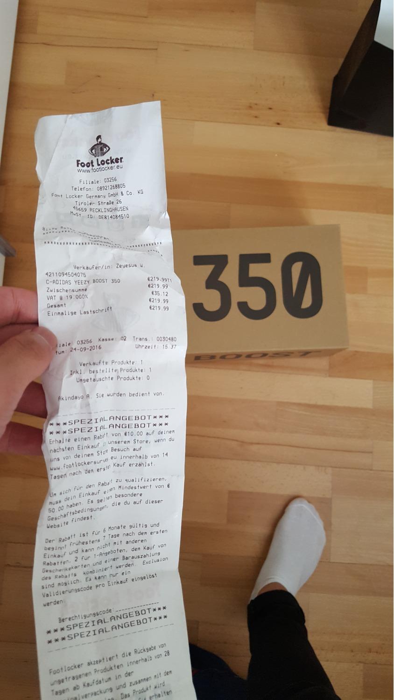 Adidas Yeezy 350 Boost Receipt