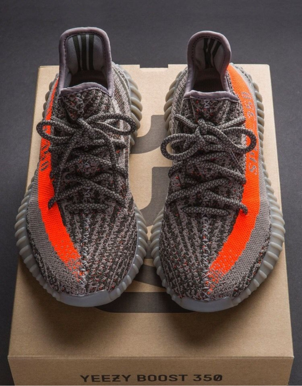 YEEZY 350 V2 BOOST Copper Black on feet in box