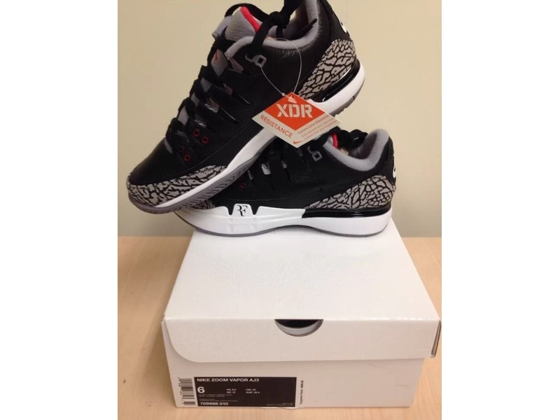 9c50bb0a14b43 ... DS Nike Air Jordan 3 x Roger Federer Zoom Vapor Tour Black Cement AJ3  BC3 Size ...