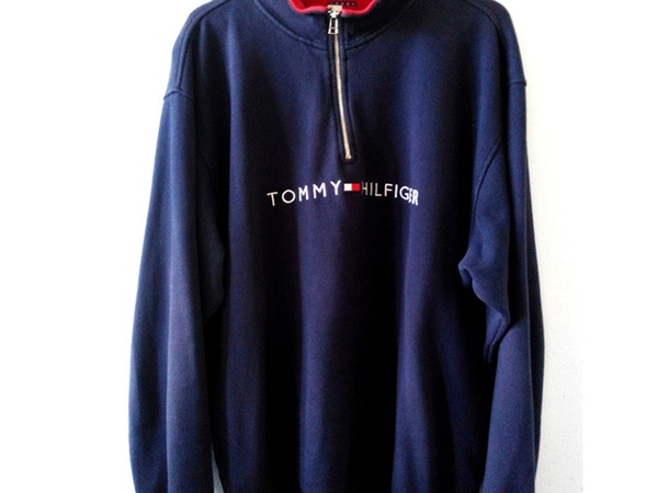 Vintage Tommy Hilfiger Pullover Spellout Quarter Zip Large - photo 1/3