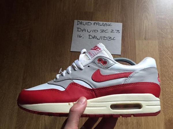 Nike Air Max 1 SC Leather white varsity red 1997 - photo 1/1
