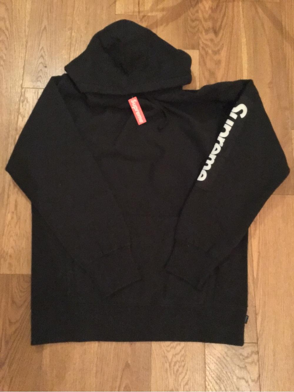Supreme nyc sleeve patch hoodie l black box logo sade
