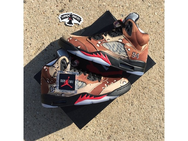 <strong>Air</strong> <strong>Jordan</strong> 5 Retro <strong>SUPREME</strong> <strong>Desert</strong> <strong>Camo</strong> DS size 8 with Receipt/Box Logo Sticker - photo 1/5