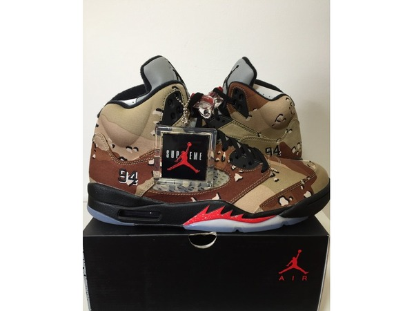<strong>Air</strong> <strong>Jordan</strong> 5 V <strong>x</strong> <strong>Supreme</strong> <strong>Desert</strong> <strong>Camo</strong> sz 9.5 us 8.5 uk 43 eu DS NEW WITH BOX AND RECIPT - photo 1/6