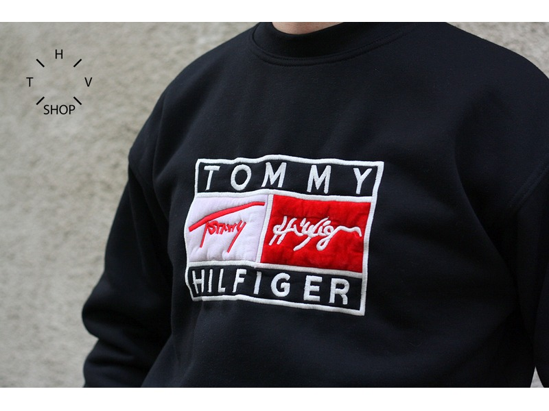 1643bba9944 Vintage TOMMY HILFIGER sweater jumper sweatshirt black big logo 90s NOS NDS Medium  Large