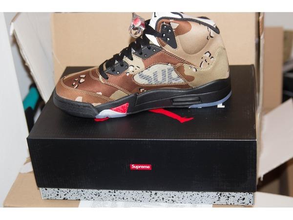 Nike <strong>Air</strong> <strong>Jordan</strong> 5 <strong>x</strong> <strong>Supreme</strong> <strong>Desert</strong> <strong>Camo</strong> - photo 1/8