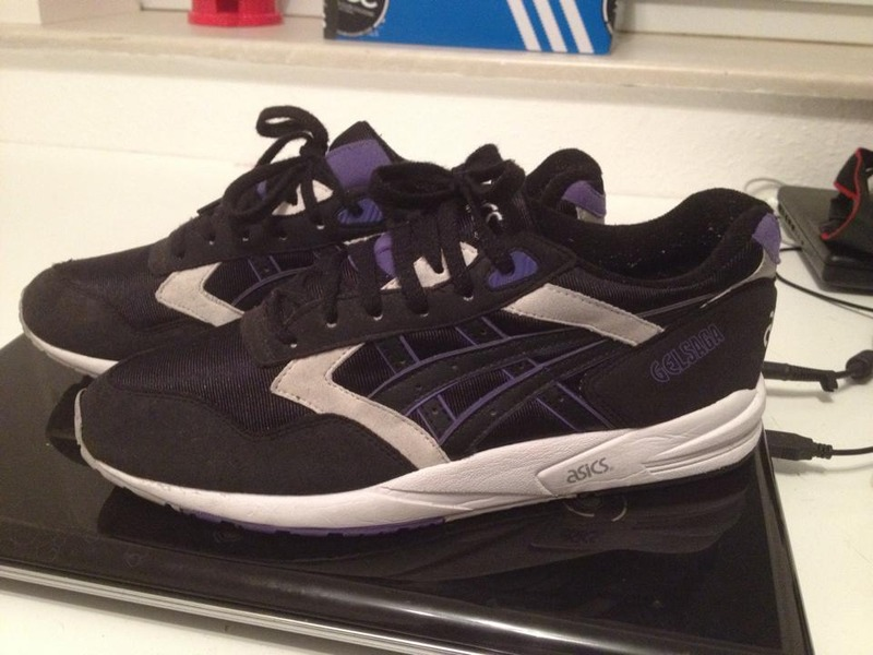 asics gel saga black purple