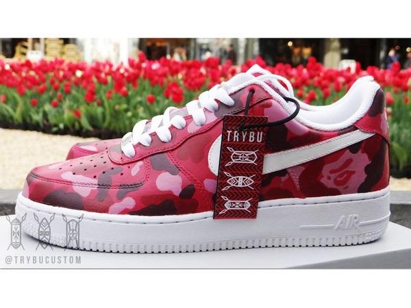 "Nike Air Force 1 Low ""Bape Red Camo""Custom - photo 1/3"