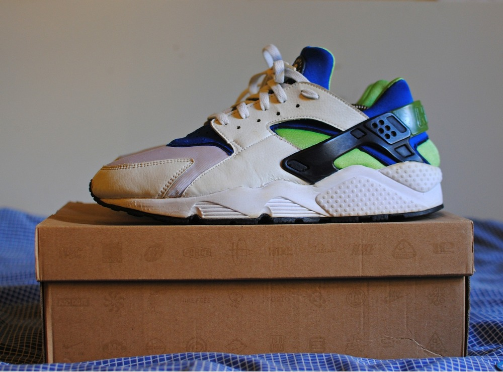 info for c05e1 48b45 nike air huarache scream green
