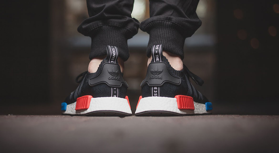 883b66bc4850 adidas NMD ORIGINAL BOOST RUNNER PRIMEKNIT CORE BLACK - on feet (back view)