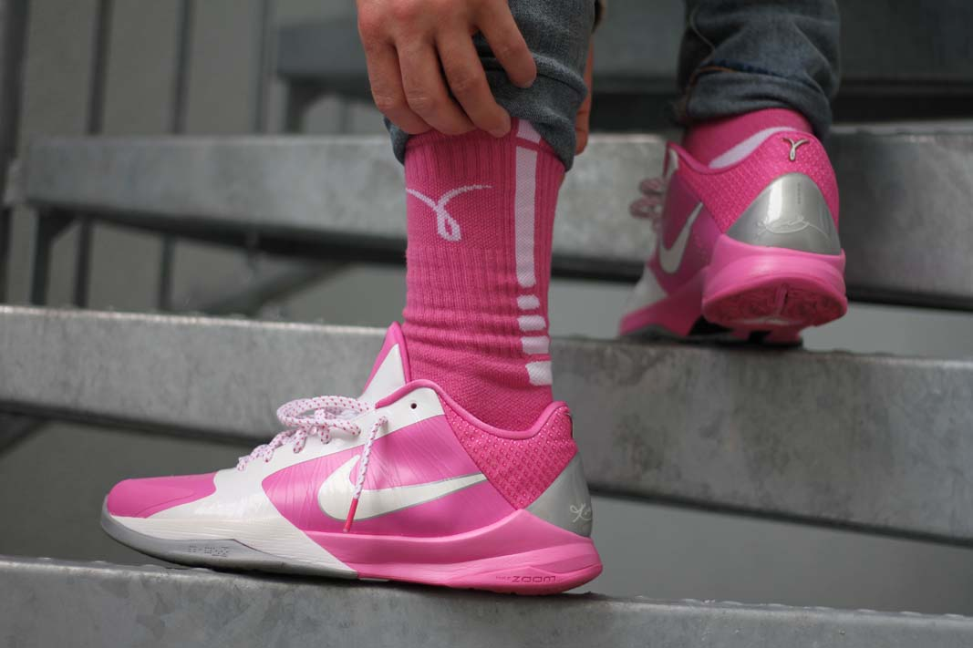 6f60e59ee21 Nike Zoom Kobe V  Think Pink  This pair honors the breast cancer foundation  and awareness.